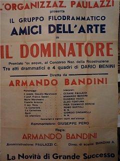 Armando Bandini Manifesto Teatro Il Dominatore Avanspettacolo 1949
