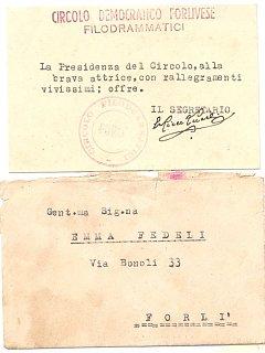 Emma Fedeli Attestato Di Stima Circolo Democratico Forli Filodrammatica Teatro 1940