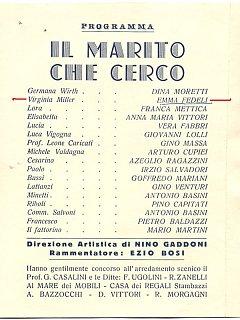 Emma Fedeli Manifesto Programma Il Marito Che Cerco Teatro 1940