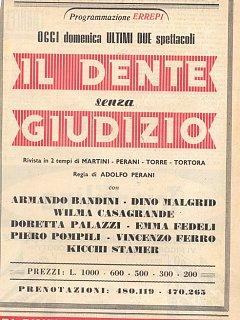 Armando Bandini Locandina De Il Dente Senza Giudizio Al Nuovo Teatro 4 Fontane 1954