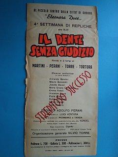 Armando Bandini Locandina De Il Dente Senza Giudizio Al Teatro Duse 1954