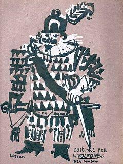 Armando Bandini Disegno Di Luzzati Per Il Costume Di Scena Per La Commedia Il Volpone 1954