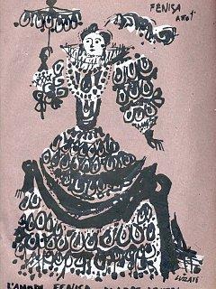 Armando Bandini Disegno Di Luzzati Per Il Costume Di Scena Per La Commedia L Amo Di Fenisa 1954