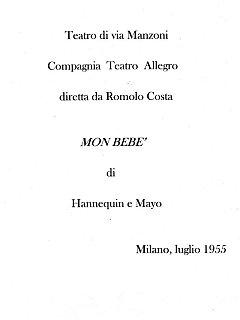 Armando Bandini Frontespizio Della Commedia Mon Bebe 1955
