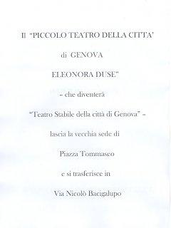 Armando Bandini Il Piccolo Teatro Eleonora Duse A Genova Cambia Sede 1953