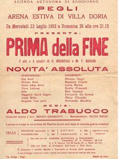 Armando Bandini Locandina Della Commedia Prima Della Fine All Arena Villa Doria Di Pegli Genova 1953