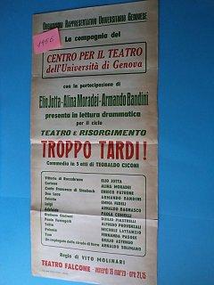 Armando Bandini Locandina Della Commedia Troppo Tardi 1955