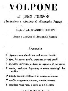 Armando Bandini Presentazione Con Acronimo Della Commedia Il Volpone 1955