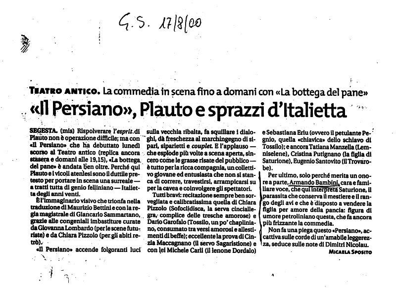 Armando Bandini Recensione2 De Il Persiano 2000