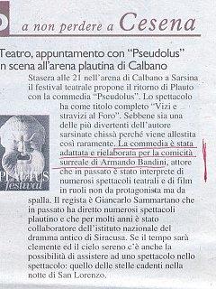 Armando Bandini Recensione2 Di Pseudolus 2006
